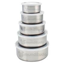 Conjunto De Potes Multiuso Em Aço Inox Com Tampa 5 Peças