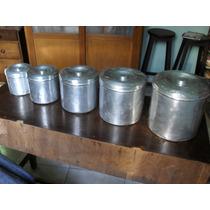 5 Porta Mantimentos Em Alumínio - Anos 1960 - Usado