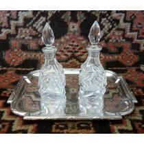 Salva Francesa Antiga C/ Galhetas - Prata 90 & Cristal!!!!!!