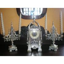 Garniture - Relógio E Candelabros Espessurado A Prata