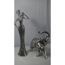 Conjunto Africana E Elefante Craquelado Espelhado Decoração