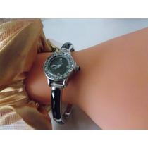 Relógio Bracelete De Prata 925 Com Ônix Facetada E Cristais