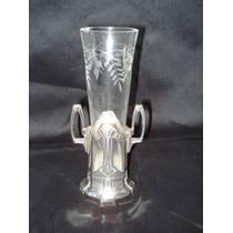 Vaso Em Metal Prateado Royal Metal E Vidro Lapidado