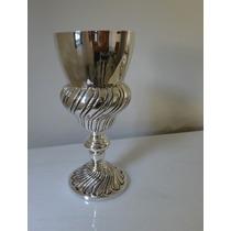 Vaso Em Cálice Banho Prata - Lindo E Antigo - 30cm
