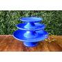 Trio De Boleiras - Cerâmica Provençal - Boleiras Azul Royal