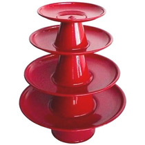 Prato Suporte 4 Bandejas Alumínio Baleiro Doce Bolo Vermelho
