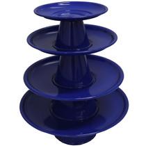 Torre Suporte 4 Bandejas Alumínio Baleiro Doces Azul Escuro