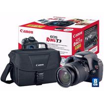 Câmera Canon Eos Rebel T3 + Lente 18-55 + 8gb + Bolsa + Novo