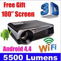 Projetor Full Hd 5500 Lumens Android 4.4 1920 X 1080 3d + Ac