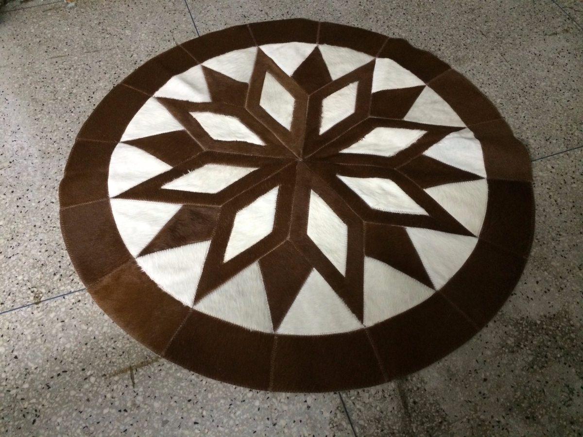 pronta entrega tapete de couro de boi mandala 1 20 r. Black Bedroom Furniture Sets. Home Design Ideas