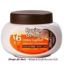 Bronzeador Rayito De Sol - Creme Sapolan - Fps 6 - Pote 280g