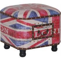 Puff Banco Apoio Estofado Com Gaveta Reino Unido Bandeira Uk