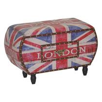 Puff Banco Arca Gaveta Bandeira Inglaterra Reino Unido