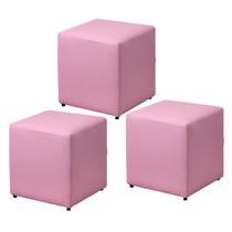 Kit 03 Puffs Quadrado Decorativo Sala Sofá Corino Rosa Bebê