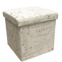 Puff Box Baú Pergaminho Francês Caixa Quadrado Mdf E Pvc