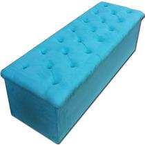 Peseira De Cama Box Suede Azul Turquesa