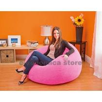 Poltrona Inflável Puff Em Veludo Quarto Rosa Decor Inflador