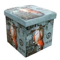 Puff Box Baú Lambreta Caixa Quadrado Porta Trecos Mdf E Pvc