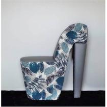 Lançamento Novo Puff Sapato Decorativo Tecido Florido Azul