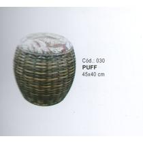 Puff Redondo De Ferro E Junco Sintetico