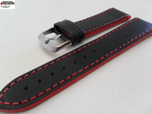 Pulseira Couro Preta 22mm Costura E Lateral Vermelha Luxo