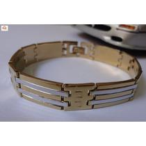 Bracelete, Pulseira Masculina, Aço Detalhes Dourado