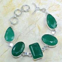 Pulseira Prata 925 Esmeraldas Pedras Naturais