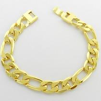 Pulseira Masculina 18cm 12mm Largura Folheada Ouro Pl158