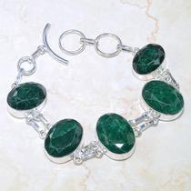 Pulseira De Prata 925 Com Esmeraldas Naturais!