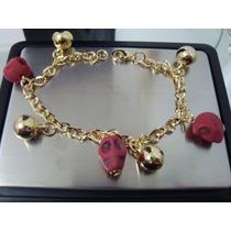 Pulseira Ouro18k Caveira Mexicana Pedra Rubelita-frete Grati