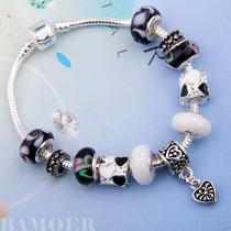 Pulseira Pandora Vivara Prata 925 Completa Beads Berloques