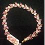 Pulseira Em Zircônia Cúbica Safira Rosa Folh Ouro 18k (082)