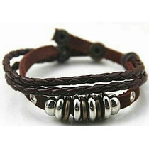 Pulseira Couro Masculina Tribal Surf Hiphop Hollister Ouro