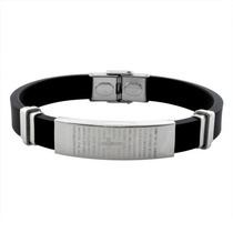 Pulseira Bracelete Masculino Pai Nosso Silicone E Aço 316l