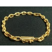 Pulseira Masculina Ouro 18k Cadeado Cartier Maciço 30g