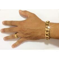 Pulseira Masculina Dourada Ouro 18k
