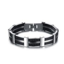 Pulseira Masculina Bracelete Barato Linda Aço C/ Silicone