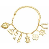 Pulseira Bracelete Life Modelo Pandora Vivara Ouro Banhado