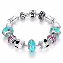 Pulseira Bracelete Pandora Murano Berloque Charm Prata 925