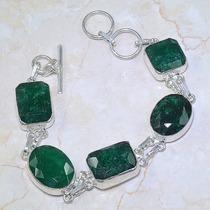 Maravilhosa! Pulseira De Prata 925 Com Esmeraldas Naturais!