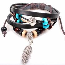 Pulseira Couro Feminino Bracelete Pingente Estilo Indiano