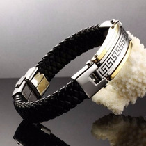 Pulseira Bracelete Masculino Luxo Couro Aço Inoxidável Grego