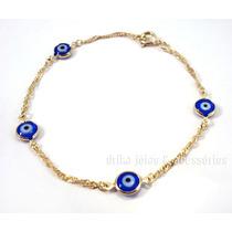 Pulseira Olho Grego Folheado Ouro 18k Azul Singapura Turco