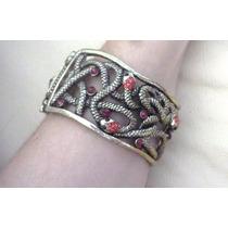 Pulseira Bracelete Dourado, Vazado Cobra Cristal Vermelho