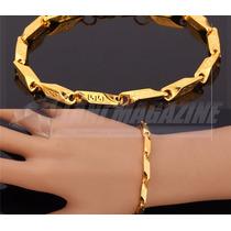 Pulseira Masculina Luxo Vintage 5mm Banhada Ouro 18k