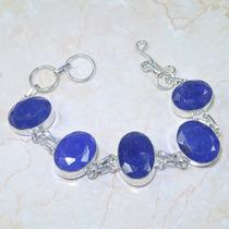 Imperdível! Pulseira De Prata 925 Com Safira Azul Natural!
