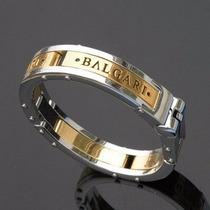 Pulseira Bracelete Masculina Algema Aço Banhada Ouro 18k