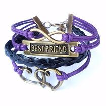 Pulseira Best Friend 4 Voltas Infinito E Coração