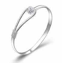 Bracelete Em Prata 925 Com Detalhe Em Flor Fino E Delicado