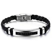 Pulseira Couro Masculina Ph766 Prata Aço Inoxidável Bracelet
